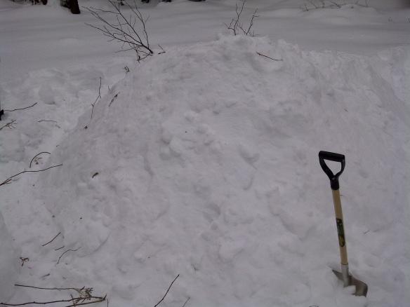 Large snow pile