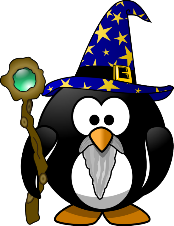 A photo of kkeithley after he (temporarily) transformed himself into a wizard penguin.