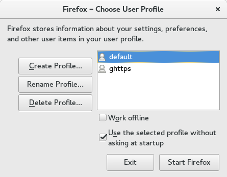 A view of my firefox profiles as shown by running: firefox -P