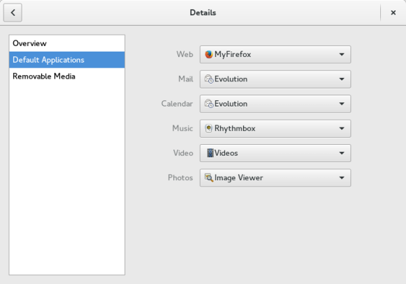 What the GNOME Settings->Details->Default Applications dialog looks like after I made one small change.